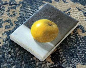 oil painting still life Yellow Apple, oil on canvas