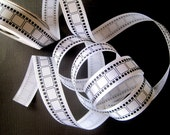 "REMNANT - Movie Film Ribbon, Black / White, 7/8"" inch wide, For Mixed Media, Gifts, Scrapbook, Home Decor, Accessories"
