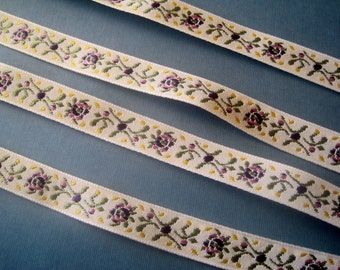 Purple Rose Jacquard Embroidered Ribbon, Multi / Cream, 5/8 inch wide, 1 yard, For Home Decor, Accessories, Apparel, Scrapbook, Mixed Media