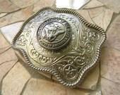 Navy Silver Concho Belt Buckle, US Navy Wife Girlfriend , Western Womens Mens Engraved Military Belt Buckle, USN Navy Anchor, Groomsmen Gift