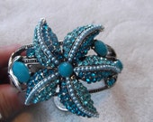 Regal Art Deco Ornate Rhinestone Ocean Blues Starfish Hinged Clamper Bracelet