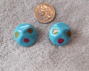 Vtg Clip On Earrings-Poka Dotted Lucites-C2440