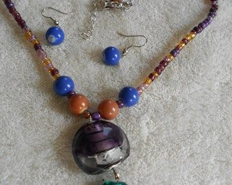 High Fashion Necklace-Earring Set-LAMP GLASS Beaded-DEMI-N1207