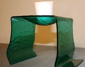 Green Iridescent  Fused Glass Candle Holder, Potpourri Burner