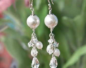 10% Off Wedding Bridal Long Cluster Earrings With Swarovski Crystals And Freshwater Pearls Sterling Silver Wire Wrapped Jewelry For Brides