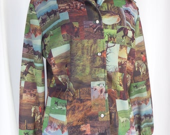 70s  hilarious photo transfer polyester novelty shirt/ horses equestrian dressage theme/Western style: US large