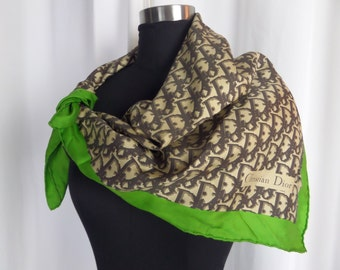 60s vintage Christian Dior silk scarf/ beige tan brown grass green/ 31 x 30inches square