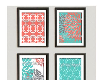 Coral Green Grey Floral Vintage / Modern inspired  Art Prints Collection  -Set of (4) - 8x10 Prints -   (UNFRAMED)