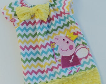 Peppa Pig Chevron Ruffle Peasant Dress