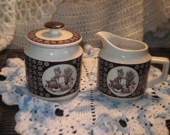 Enesco imports corp, Creamer and Sugar Bowl ,Vintage Dishes, Vintage Kitchen, vintage home decor,  1978