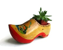 Vintage Dutch Wooden Shoe Windmill Succulent Planter Netherlands Folk Art Decor Wood Clog
