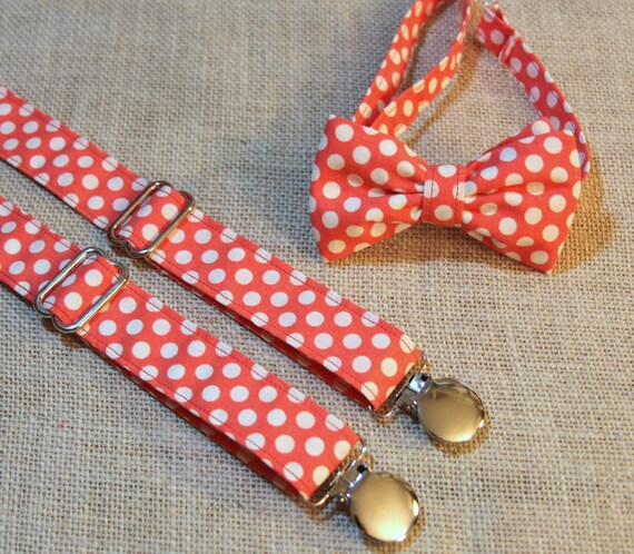 coral white polka dot bow tie and suspenders set boys