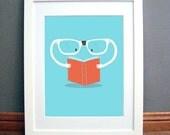 Printable Wall Art, Reading Glassses Print, Childrens Bedroom, Downloadable pdf