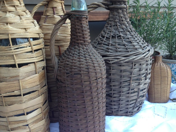 Antique French Demijohn Hand Wrapped Wicker Aqua Blue Glass Wine Bottle