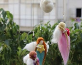Baby Girl Mobile, Baby / Nursery Decor, Felted Fairy Mobile
