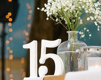 Wedding table number - Shabby chic - wooden table numbers
