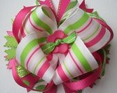 Pink and Lime Green Striped Layered Boutique Hair Bow-Hot Pink, Light Pink, Lime Green, White, Glitter, Lace, Ribbon