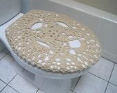 Crochet toilet seat cover or crochet toilet tank lid cover - oatmeal (TSC8E or TTL8E)