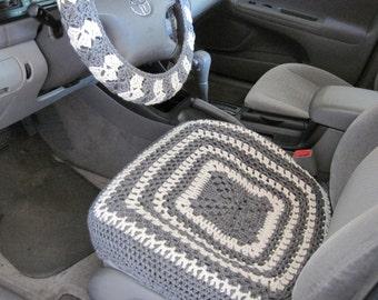 Crochet Car Front Seat Cover - aran/grey heather (CCFSC1A)