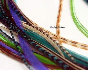 Feather Hair Accessories Boho Hair Feathers DIY Kit Feather Extensions Bohemian Blue Green Purple Plume Extension x10