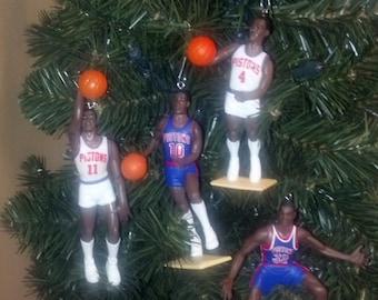 Isiah Thomas ,Joe Dumars ,  Dennis Rodman or Sean Elliot Grant Hill Bad Boys Detroit Pistons basketball Christmas sports ornament