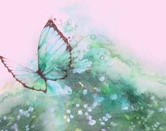 PRINT 6 x 8 Live with Fullness & Intensity Butterfly flight decor watercolour