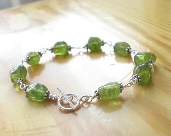 Natural Gemstone Peridot Nugget 925 Sterling Silver Wire Wrapped Bracelet, Peridot Bracelet, August Birthstone