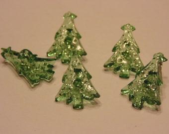 5 translucent tree buttons, 20 x 14 mm (B4)