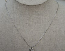 Vintage AVON Necklace and Earrings.  Snow Sparkle Pendant.  1985.  Signed.  In Original Box