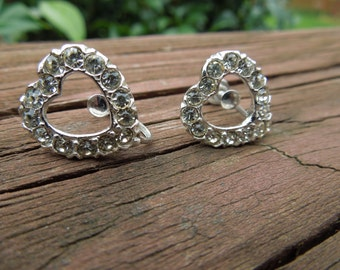Vintage Screw Back Earrings.  Heart Shaped with Rhinestones.  Silver Toned.