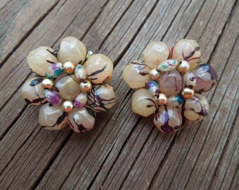 Vintage Clip Earrings, signed Hong Kong.  Cluster Type in Excellent Condition.