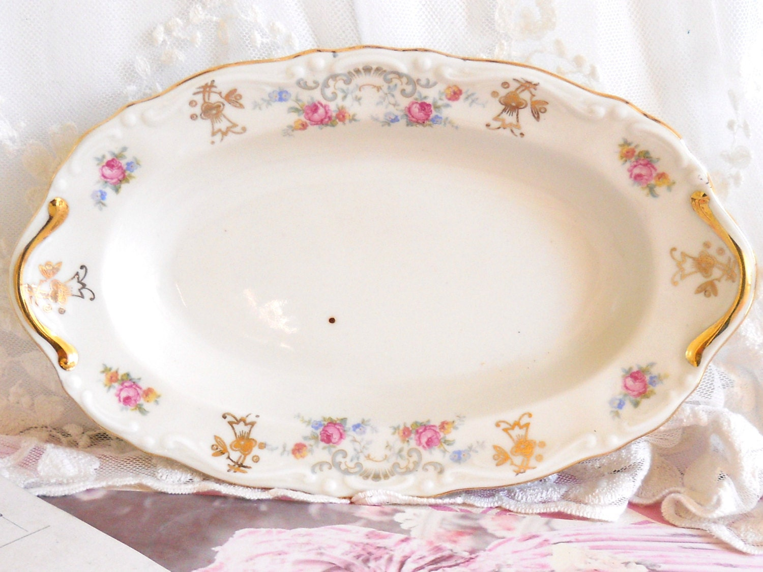 vintage oval serving dish german porcelain shabby chic multicolor flowers floral serving dish. Black Bedroom Furniture Sets. Home Design Ideas
