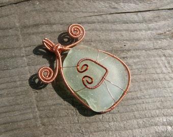 Sea glass pendant, wire wrapped pendant, genuine sea glass, Birthday gift, genuine sea stone, beach stone pendant, copper  wire