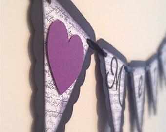 "MERCI "" Wedding banner - Wedding Garland - Eggplant banner - Purple and Black garland - Shabby Chic"