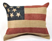 Gift for Family - Burlap Pillow - Stars and Stripes - 16 x 20 Inches - Family Room -  Shabby Chic  79833