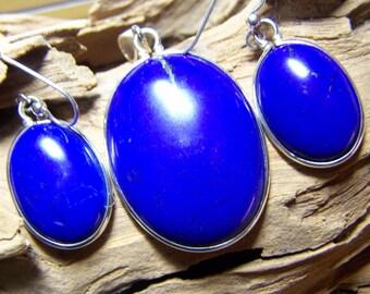 LAPIS LAZULI Large Pendant & Earring Set - High Quality Royal Blue - 112.5 Carat Weight