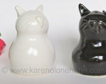 Cat Salt and Pepper Shakers, Cat Black White, Handmade Ceramic Stoneware, Made to Order