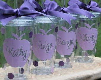 Teacher Gift - Acrylic Tumbler with straw - Personalized Polka Dot Tumbler