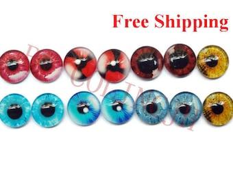 14pcs  12mm Colored  Glass Eyes Flat Back  Animal Craft Eyes Handmade Glass Cabochon