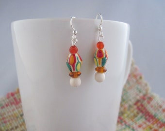 Wooden earrings, leaf earrings, beaded earrings, handpainted beads, leaves, autumn, fall, leaf jewelry, fall fashion