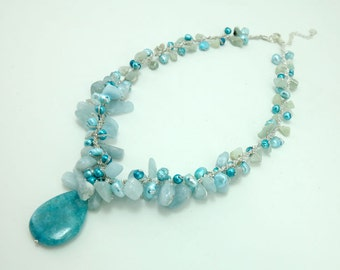 Aventurine,freshwater pearl on silk thread necklace