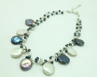Grey and white freshwater pear necklace