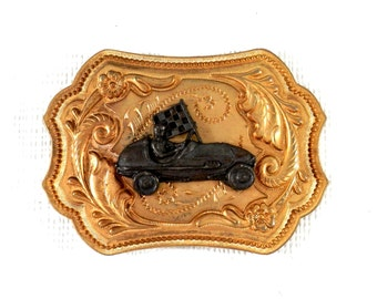 Soap Box Derby Belt Buckle 1980's Gold and Pewter