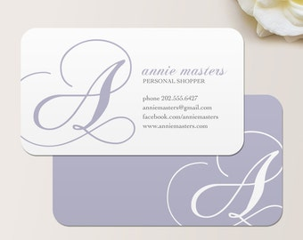 Decorative Initial Business Card / Calling Card / Mommy Card / Contact Card - CUSTOMIZE Colors and Content
