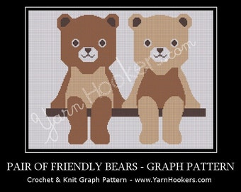 Pair of Friendly Teddy Bears - Afghan Crochet Graph Pattern Chart - Instant Download