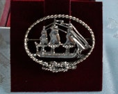 Vintage Sterling Silver Brooch  Old Ironsides, USS Constitution  Shreve, Crump, and Low Boston