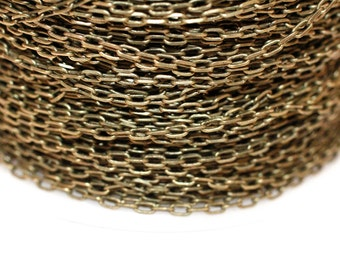 32ft Antique Brass Chain 3x1.5mm soldered- Cable Chain