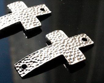 20pcs Silver Hammered Crosses/ Connectors / Bracelet Connector/ Bracelet Charms / 46x27mm