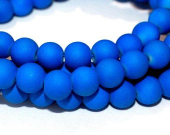 80pc Royal Blue loose Beads- 8mm  Rubberized Glass beads