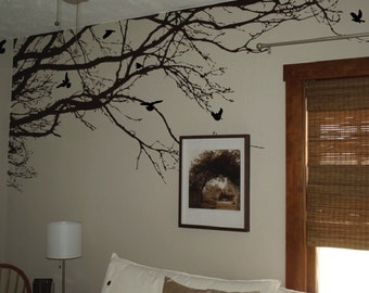 Large Wall Tree Nursery Decal Oak Branches Wall Art 1130 (8 feet wide)